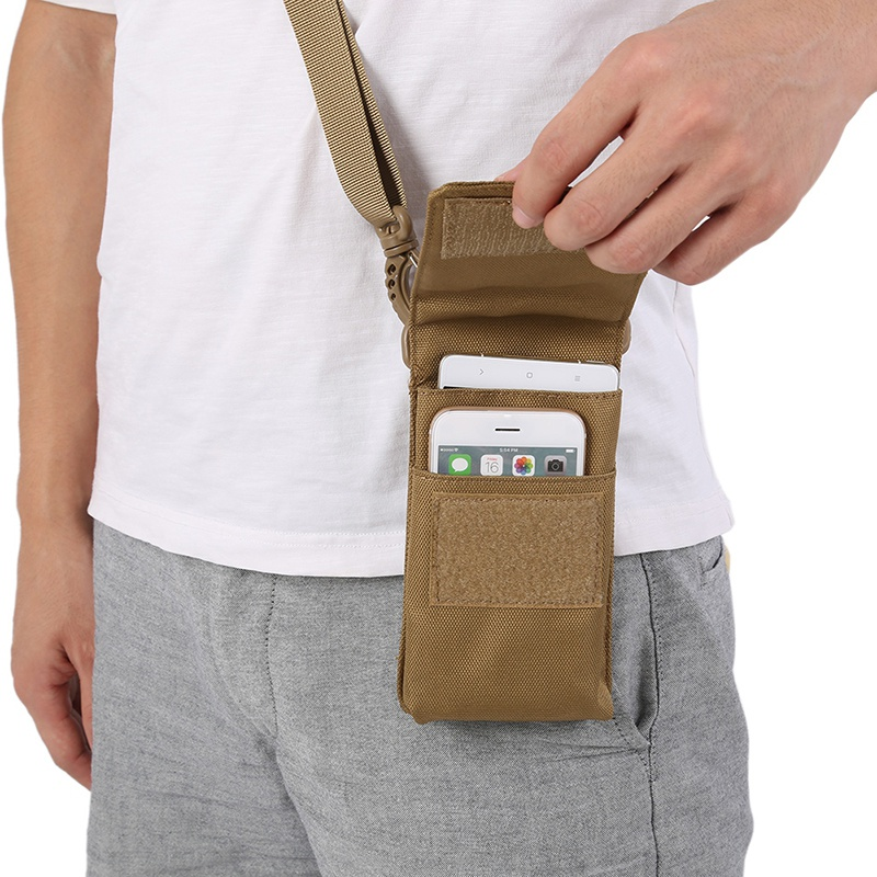 Outdoor Camo Phone Case Bag Mobile Phone Hanging Bag Portable Tactical Military Pockets W2