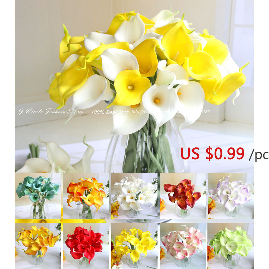 White Mini Pu Real Touch Calla Lily Artificial Flowers Bridal