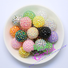 Envío gratis 20 MM 100 unids/lote Color de la mezcla Chunky resina del Rhinestone Beads Chunky para el collar que hace