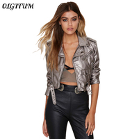 2019 New spring autumn women Lapel Zipper Jacket Silver Bandage Women PU Leather Jacket Coat Casual Tops short coat