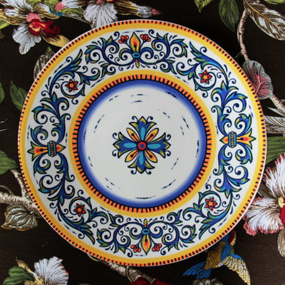Ceramic 11 western dish plate decoration plate hanging plate dpn retro finishing colored drawing steak dish & Ceramic 11 western dish plate decoration plate hanging plate dpn ...