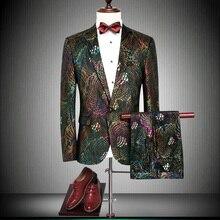 Suits Man 2019 Slim Fit Mens Colors Floral Print Suit Wedding Tuxedo For Men Jacket Party Prom Wear M- 4XL 86790