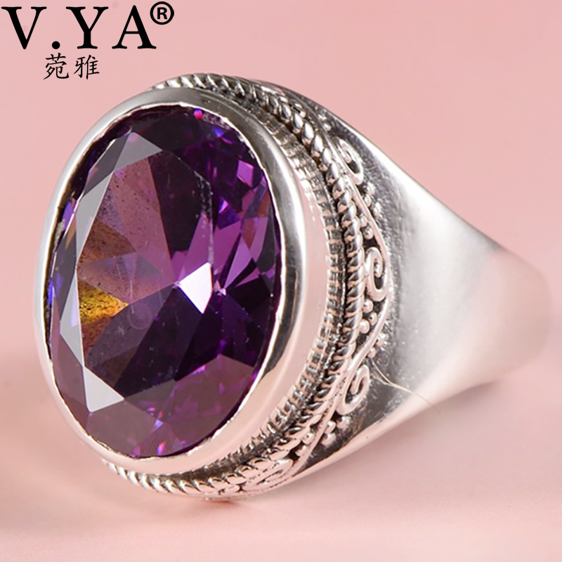 V.YA S925 Sterling Silver Women Jewelry Synthetic Purple Crystal Vintage Rings Fashion Simple Women Jewelry