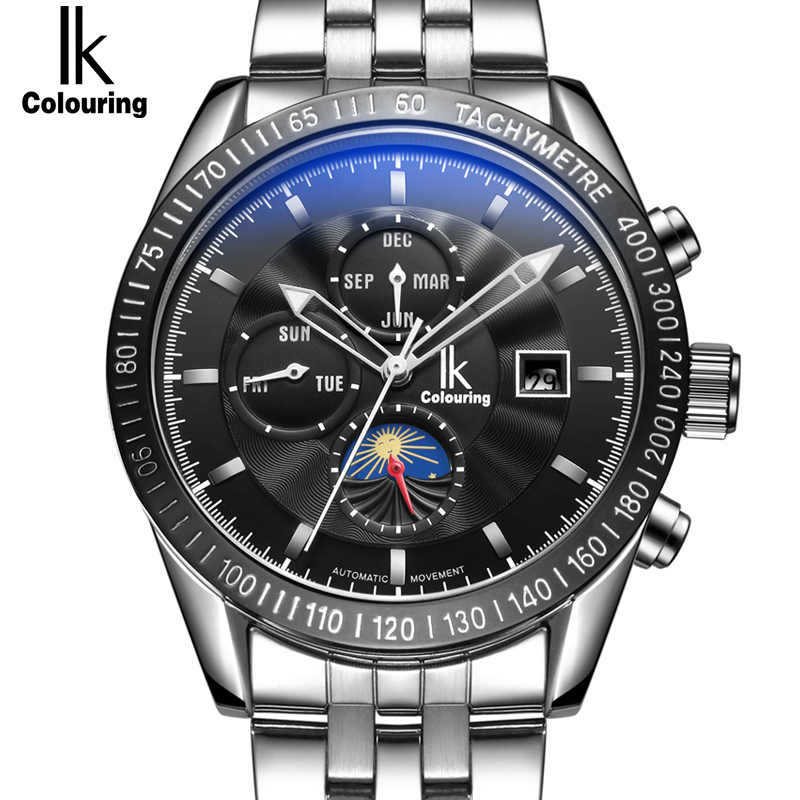 IK colouring Moon Phase Date Week Month Automatic Mechanical Watches Men Luxury Top Brand Stainless Steel Sports Watch relogio skmei luxury brand stainless steel strap analog display date moon phase men s quartz watch casual watch waterproof men watches