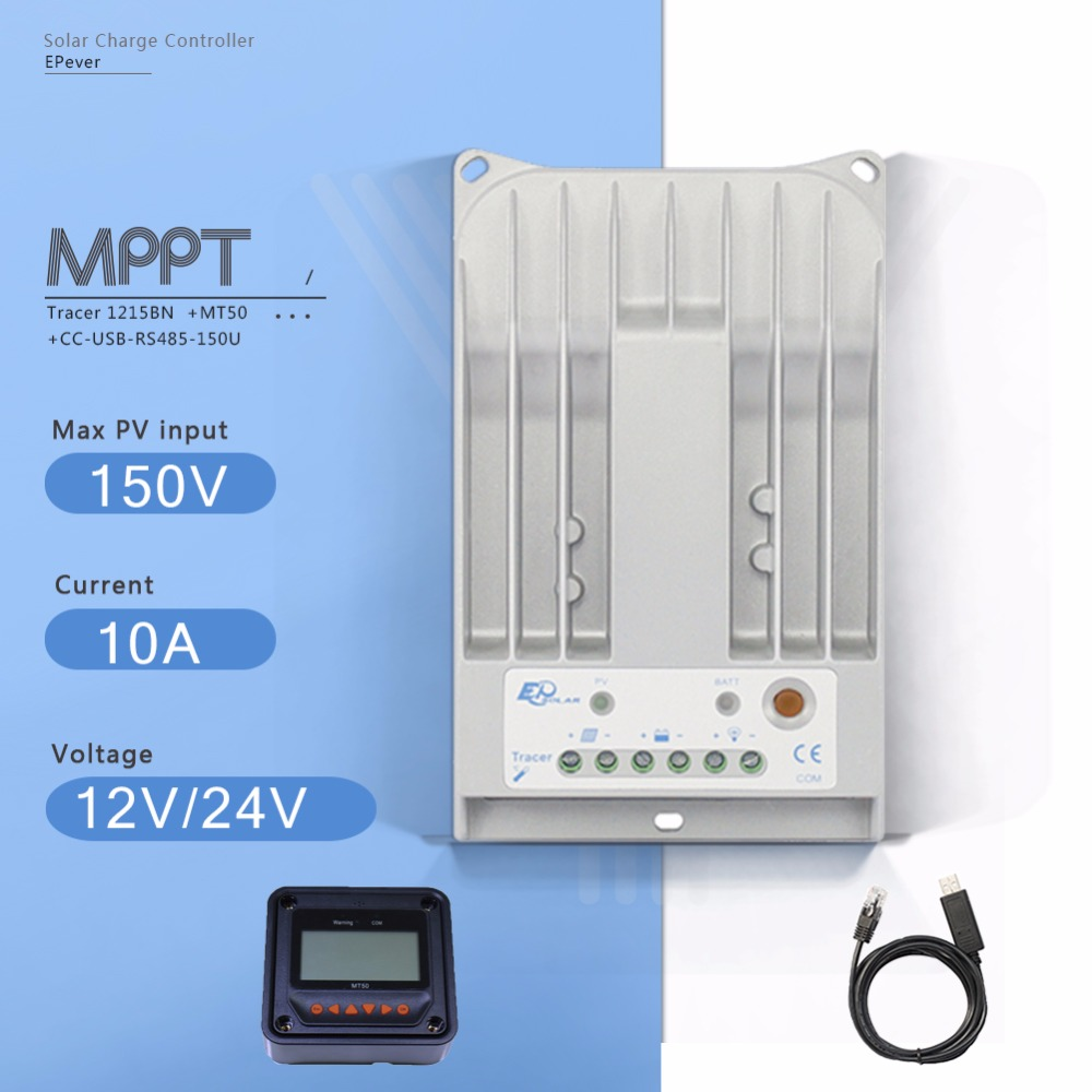 Tracer 1215BN MPPT 10A Solar Panel Battery Charge Regulater 12V 24V Auto Solar Charge Controller with MT50 Meter and USB Cable