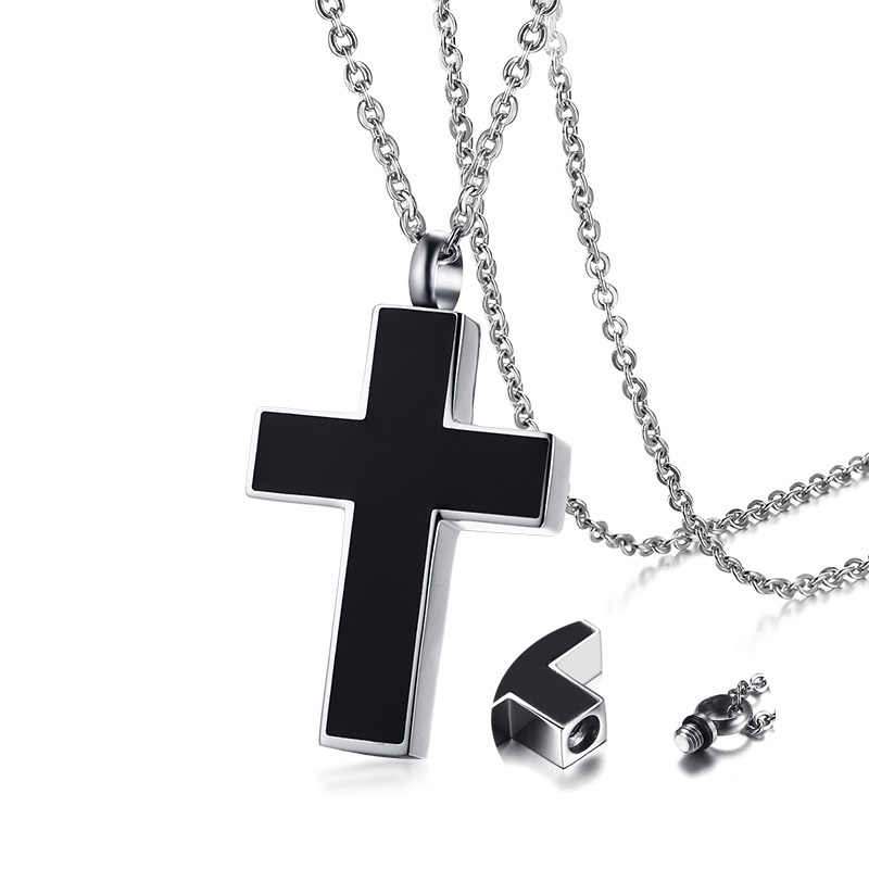 Men's Black Cross Cremation Pendant Necklace for Men Stainless Steel Ashes Urn Keepsake Male Jewelry with 20 inch