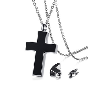 Men's Black Cross Cremation Pendant Necklace for Men Stainless Steel Ashes Urn Keepsake Male Jewelry with 20 inch(China)