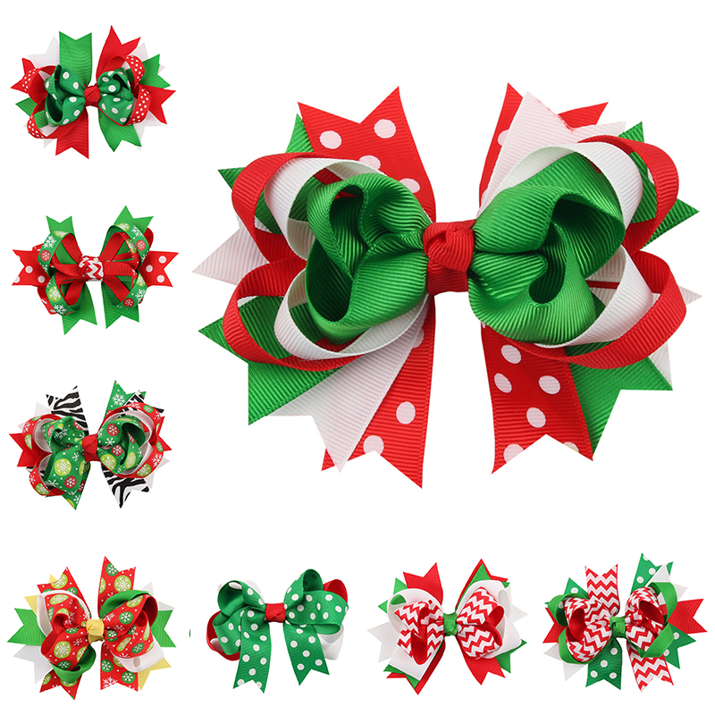 4.8''  Christmas Ornaments Bowknot Hairpin Headdress Hairpin Christmas snowflake Bow Hair Clip Free Shipping han edition hair pearl four petals small clip hairpin edge clip a word free home delivery