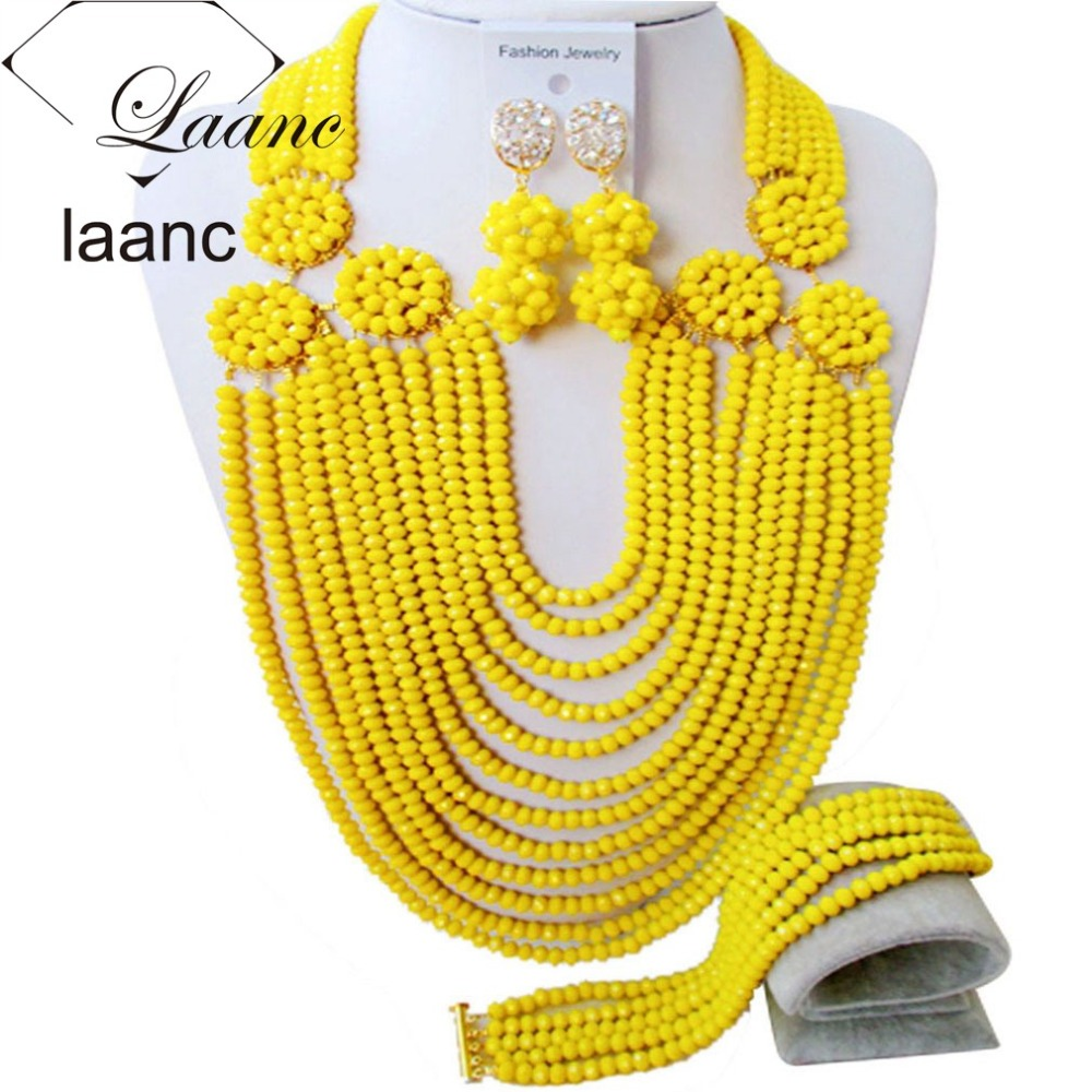 Brand Laanc 18inches Nigerian Gold Party Jewelry Set Yellow Crystal African Wedding Beads Black Women Fashion Accessories AL133Brand Laanc 18inches Nigerian Gold Party Jewelry Set Yellow Crystal African Wedding Beads Black Women Fashion Accessories AL133