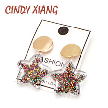 CINDY XIANG 3 Colors Choose Summer Beach Large Earrings For Women Star Fashion Cute Shining Stud Jewelry New