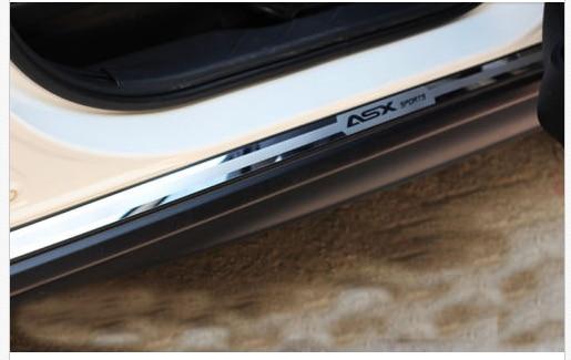steel side skirt mouldings trims for Mitsubishi ASX RVR 2010 2011 2012 2013 2014 for mitsubishi mitsubishi asx outlander sport rvr 2011 2012 2013 chrome car door handle cover exterior accessories