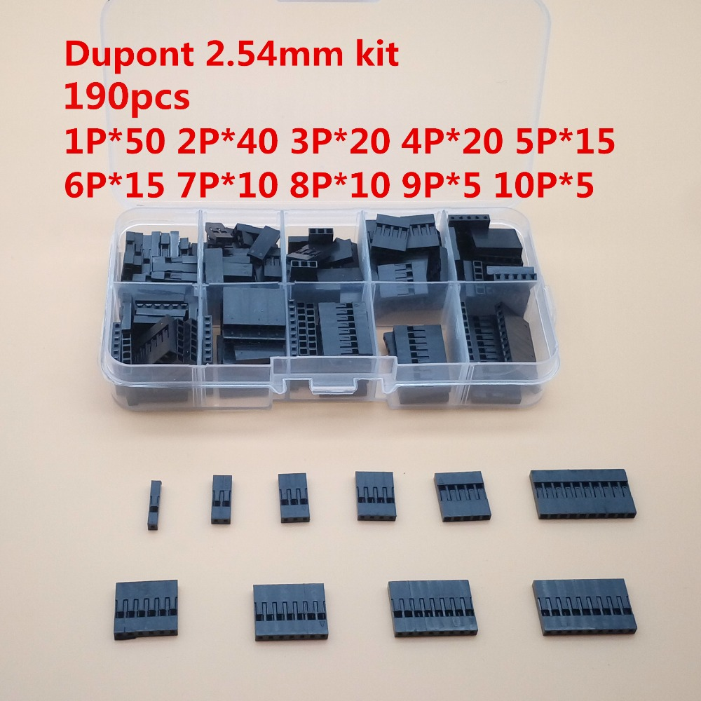190pc Dupont sets Kit 1P/2P/3P/4P/5P/6P/7P/8P/9P/ 10Pin Housing Plastic Shell Terminal Jumper Wire Connector set with box double row dupont kit 1p 2 2 2 3 2 4 2 5 2 6 2 7 2 8 2 9 2 10pin housing plastic shell terminal jumper wire connector set
