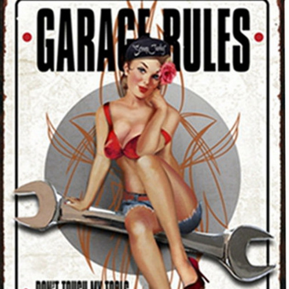 GARAGE RULES Neon Tin Sign Car Vintage Decor Mechanic Plate Repairing Plaques Lady Motor Poster for home wall art 20x30cm in Plaques Signs from Home Garden
