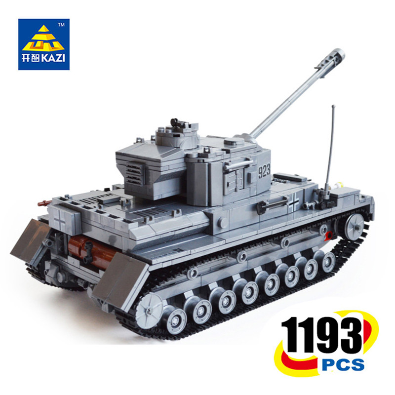KAZI Military German tank NO.4 F2 Tiger323 Tank Building Blocks world warII Educational collection LARGE model toys gift for boy 8 in 1 military ship building blocks toys for boys