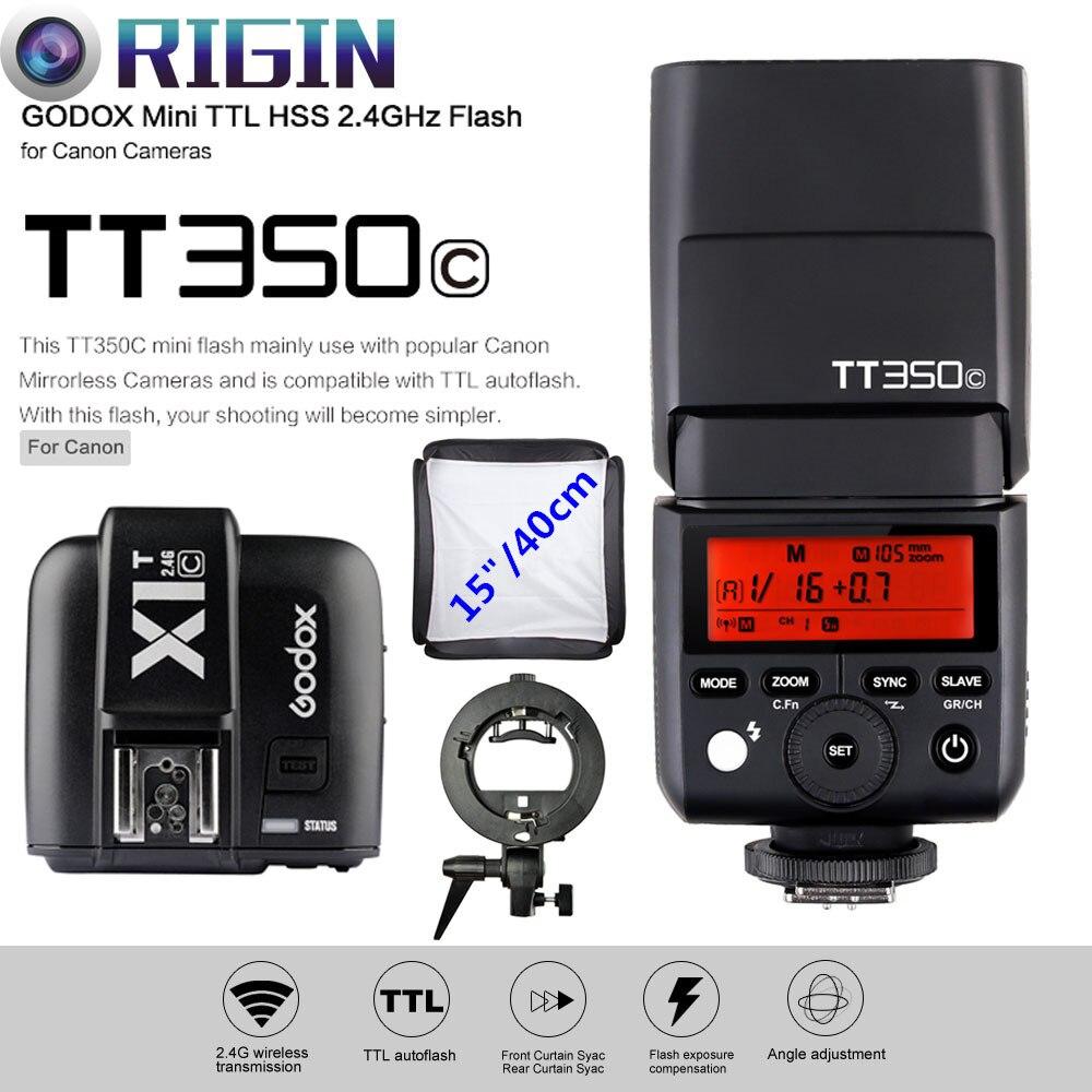 Godox Mini Speedlite E-TTL TT350C High Speed 1/8000s GN36+2.4G wireless Power Trigger X1T-C+S-type Bracket+Softbox Kit For CanonGodox Mini Speedlite E-TTL TT350C High Speed 1/8000s GN36+2.4G wireless Power Trigger X1T-C+S-type Bracket+Softbox Kit For Canon