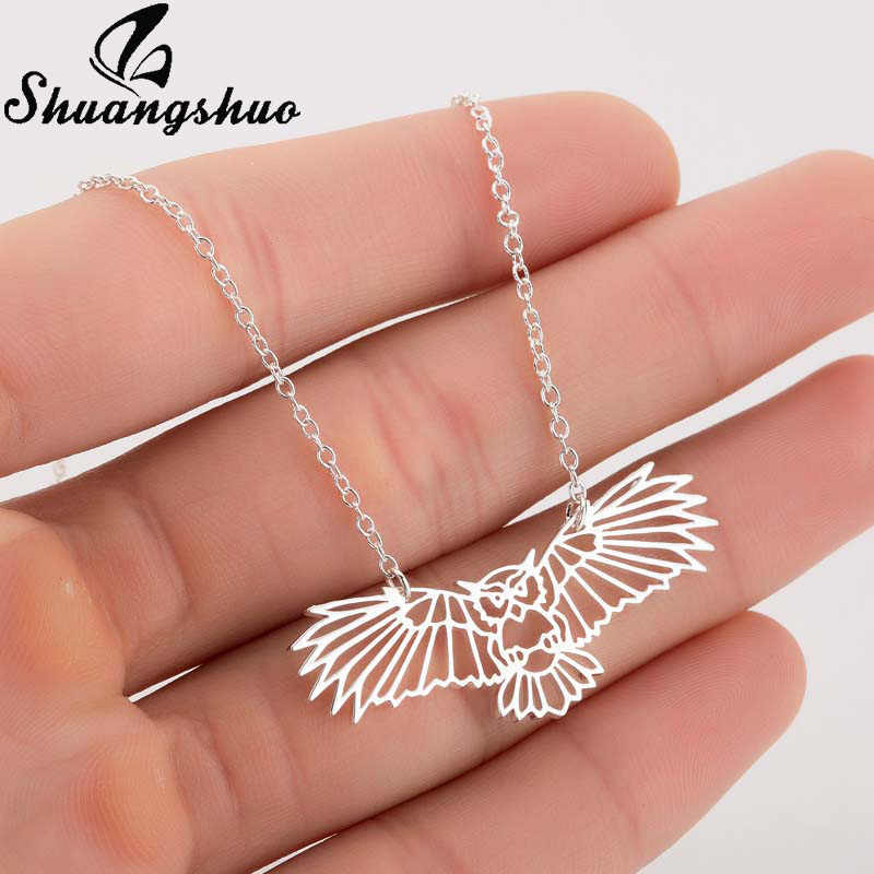Shuangshuo Animal Owl Origami Necklace For Women Silver Chokers Necklaces Stainless Steel Bird Pendant Chain Collier Femme