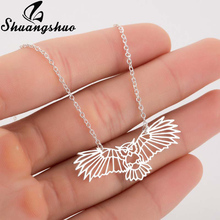 Shuangshuo Animal Owl Origami Necklace For Women Silver Chokers Necklaces Stainless Steel Bird Pendant Chain Collier Femme shuangshuo chain necklace chokers for women deer necklaces
