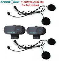 T COMVB BT Wireless Intercomunicador Interphone Headset 800M Bluetooth Motorcycle Helmet Intercom Walkie Talkie FM Soft