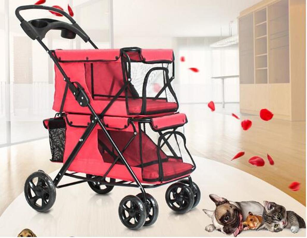 Poussette pliable Portable Double couche pour 2 chiens | Poussettes pour animaux de compagnie avec grand espace, à quatre roues et Double chien, vente pour voyage en plein air
