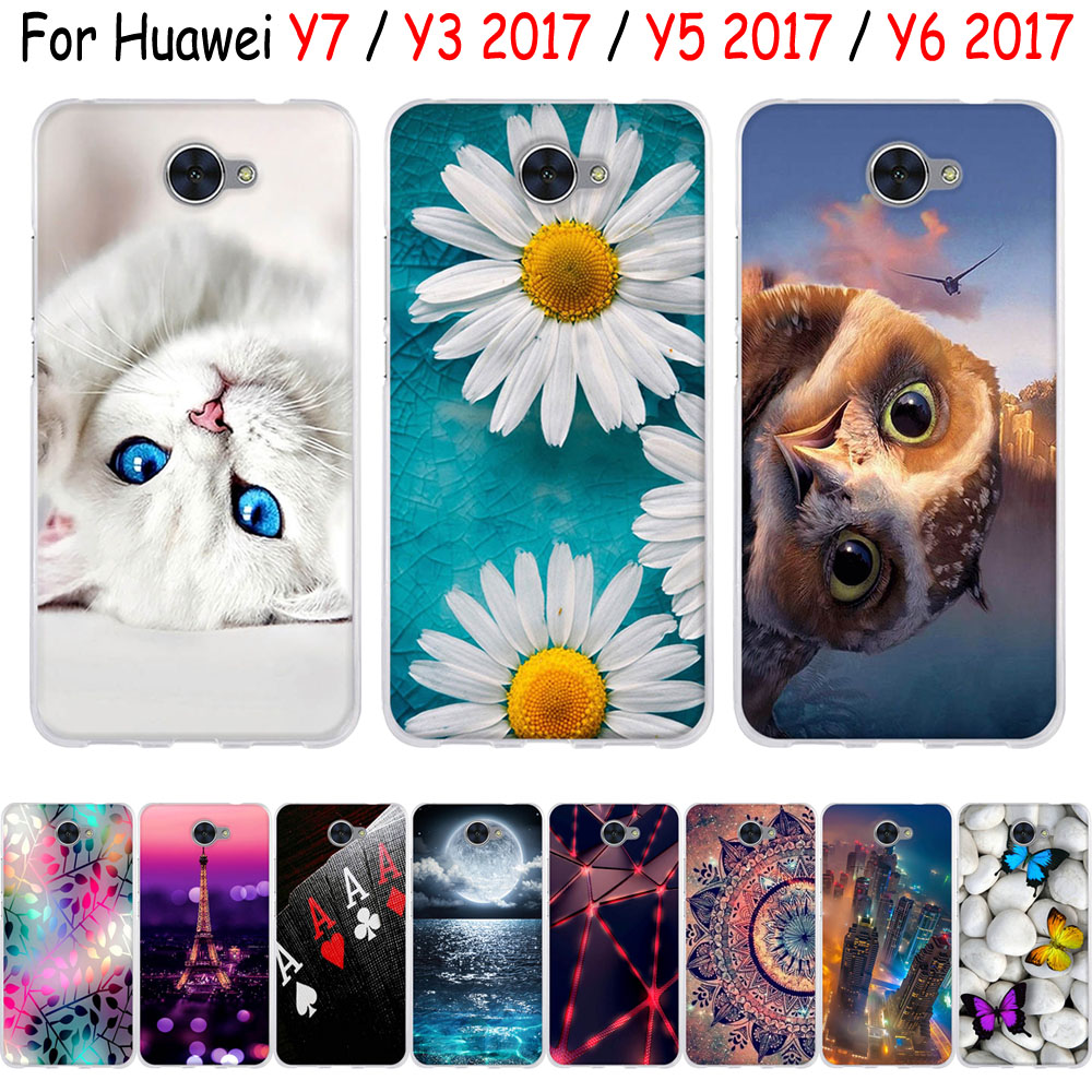 For <font><b>Huawei</b></font> Y7 / Y3 <font><b>2017</b></font> / Y5 <font><b>2017</b></font> / <font><b>Y6</b></font> <font><b>2017</b></font> <font><b>Case</b></font> 3D Cute Cat Bags Soft <font><b>Silicone</b></font> TPU Back Cover For <font><b>Huawei</b></font> Y7 Y 7 / Y3 <font><b>2017</b></font> <font><b>Cases</b></font> image