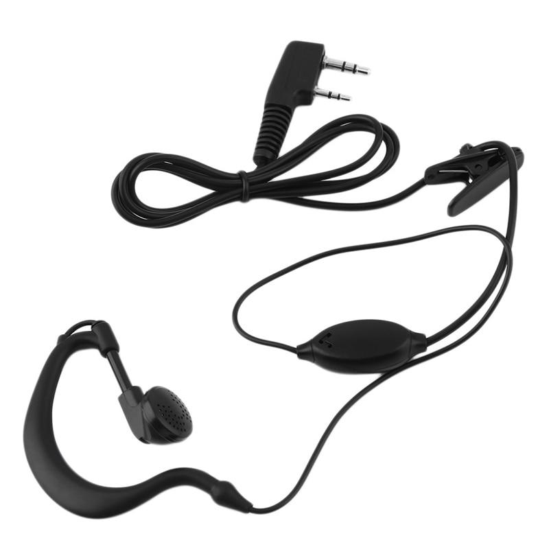 2 PIN Earpiece Headset PTT with Microphone Walkie Talkie Ear Hook Interphone Earphone for BAOFENG UV5R Plus BF-888S