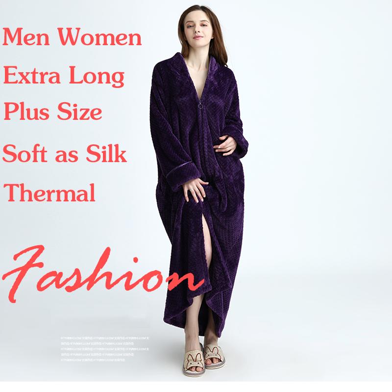 Dropwow Women Plus Size Winter Thermal Long Bathrobe Thick Flannel ... 6dbe81283