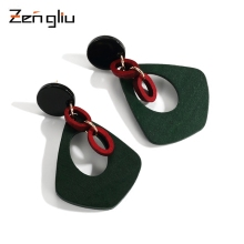 Korea retro wooden Earrings geometric female temperament long Earrings Ear Ring simple triangle ear jewelry personality