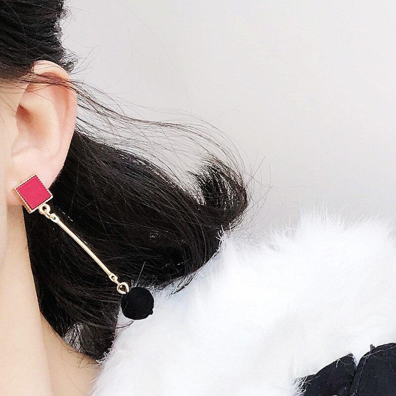 Ajojewel Simple Acrylic Geometric Earrings Women Velvet Ball Asymmetrical Earrings Jewellery Wholesale 9