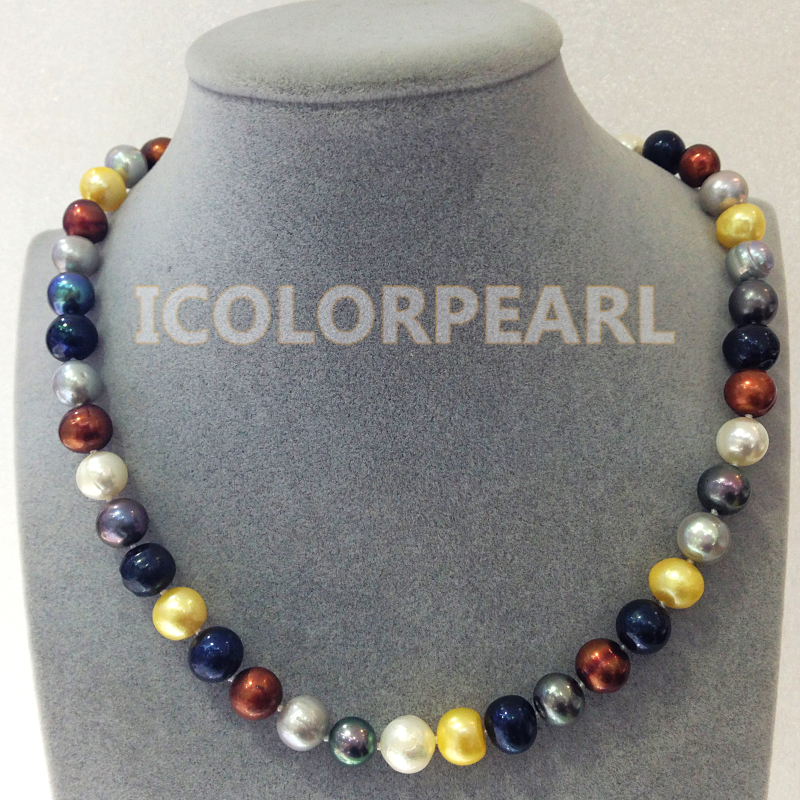 WEICOLOR Classic 9mm Nearround Multicolor Natural Freshwater Pearl  Necklace . Nice Gift For Ladies!WEICOLOR Classic 9mm Nearround Multicolor Natural Freshwater Pearl  Necklace . Nice Gift For Ladies!