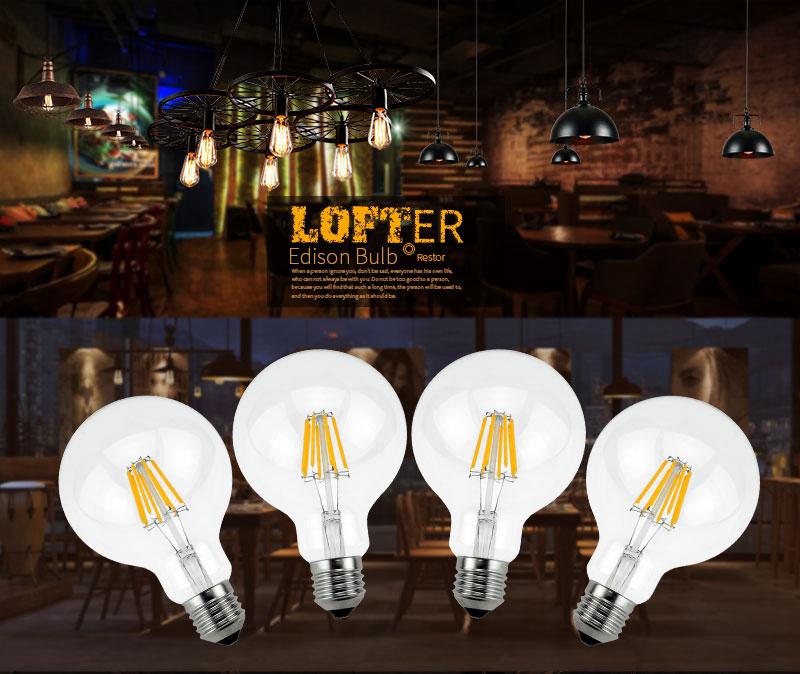 meel ретро светодиодные лампы Е27, Е14 светодиодные лампы 220 в 240 в светодиодный neckline свет 2 вт 4 вт 6 вт 8 вт стекло мяч bombillas Сид Lamp edison