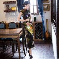YZ New Black Vintage Print Floral Women Qipao Traditional Chinese Style Wedding Dress Lady Satin Slim