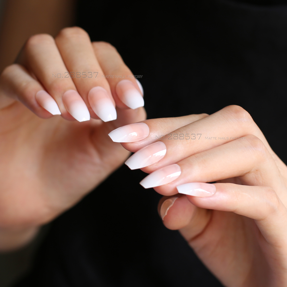 FLASH SALE) Jelly Nude White Gradient Coffin Fake Nails