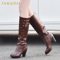 SARAIRIS Big Size 34 43 Buckles Platform Chunky Heels Black Knee High Boots Shoes Woman Autumn Boots Women