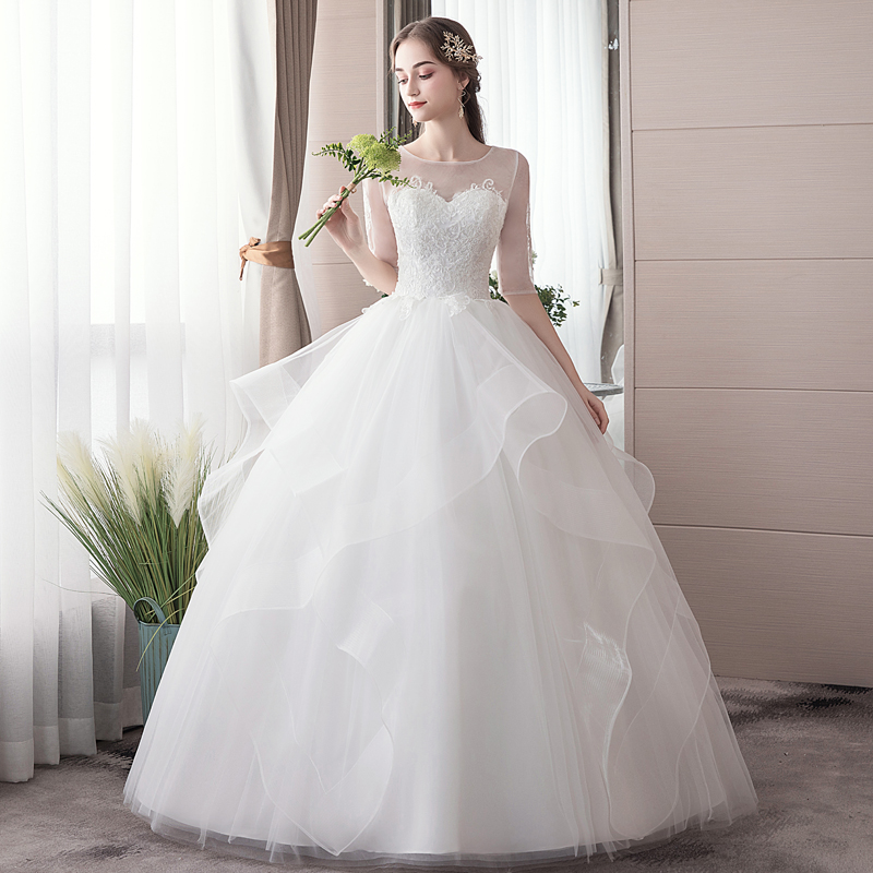 Wedding Dress Ball Gowns Women Dress 2019 New Bride Marriage Simple Middle Sleeves Wedding Dresses Lace Up Plus Size
