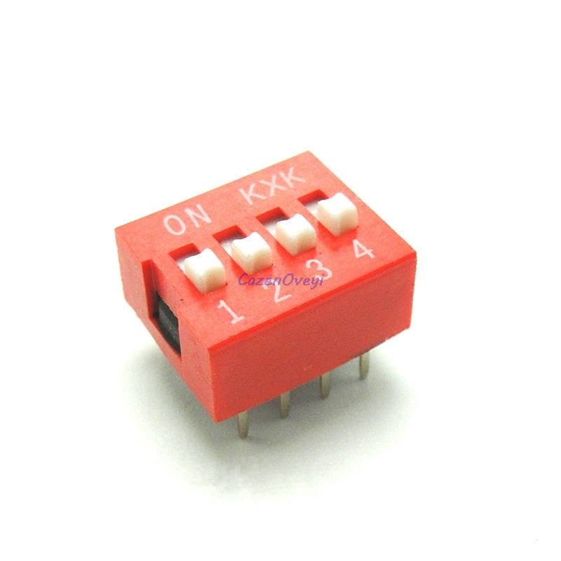 10pcs//lot DIP Switch 4 bit Way 2.54mm Toggle Switch Red Snap Switch Wholesale Electronic