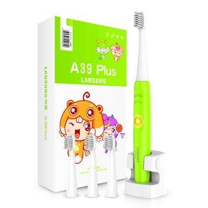 Image 3 - LANSUNG Kind Eectric Zahnbürste Mit 8 Köpfe Sonic Zahnbürste Kinder 3C Ultra sonic Zahn Pinsel Wiederaufladbare 220V