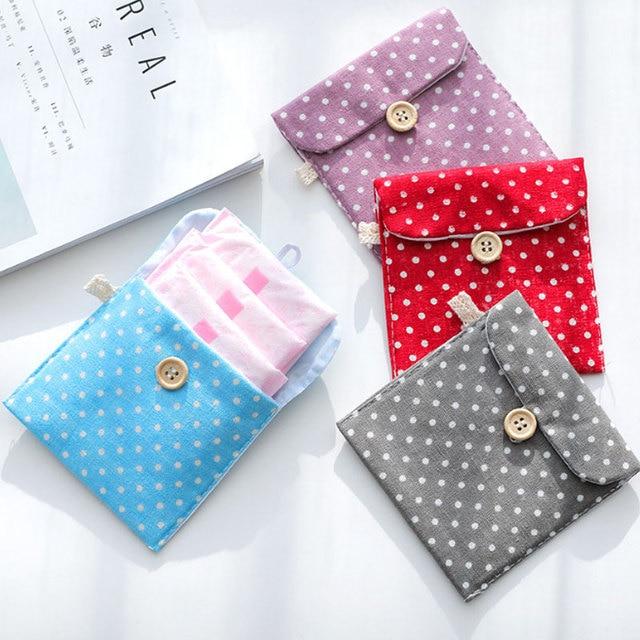 כותנה סניטרית תיק עבור מארגן מפית Pad פאוץ מחזיק נייד סניטרי אחסון קטן מקרה אישה ילדה חיצוני רחיץ