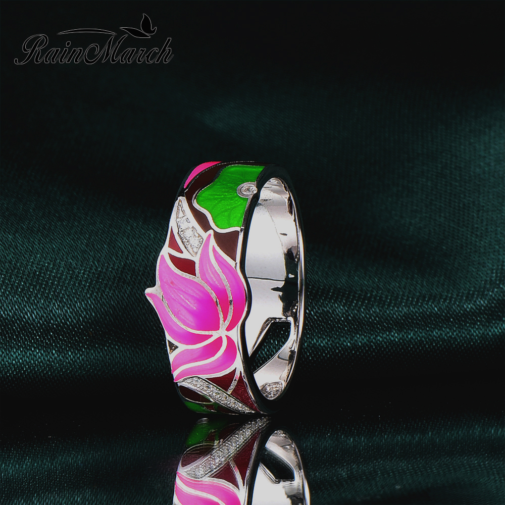 RainMarch Enamel Lotus Flower Silver Engagement Ring For Women 925 Sterling Silver Rings Cubic Zirconia Party Enamel Jewelry rainmarch enamel lotus flower silver earrings for women engagement 925 sterling silver earring handmade enamel party jewelry