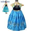 Nova Verão Crianças Meninas Vestido de Princesa Anna Elsa Vestidos Dos Desenhos Animados Crianças Cosplay Traje Febre Vetements fille