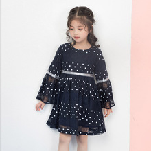 New arrival spring children clothing 4-12 years girls flare long sleeves dot dresses for girls girls dresses 2018 new european and american style spring pattern solid long sleeves blue girl dresses for 4 16 year ds580