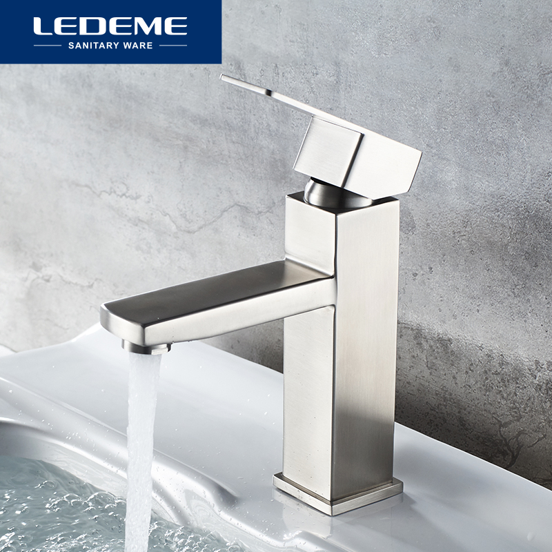 LEDEME Bathroom Basin Faucet Bathroom Tap Hot Cold Water Sink Faucets Stainless Steel Single Water Basin Mixer Water Taps L71033