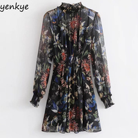 Vintage 2pcs Summer Women Floral Printed Dress Female Frill Stand Collar Long Sleeve Casual Mini Dresses