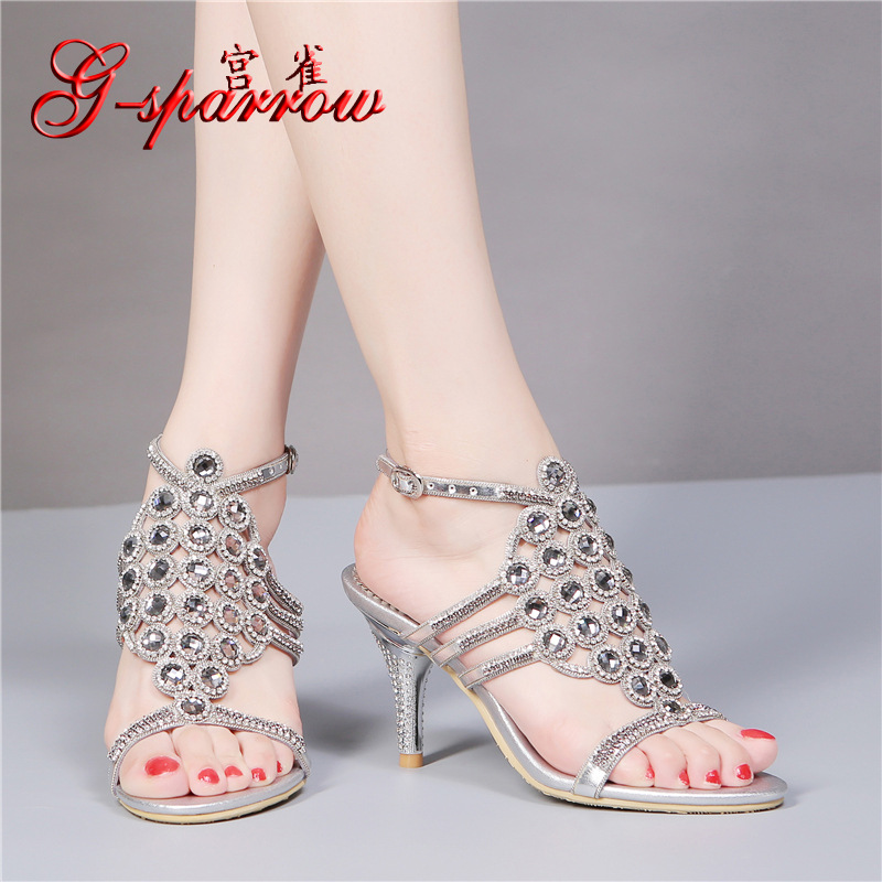 ФОТО Elegant Wedding Dress 2016 Summer New Diamond Silver Sandals High Heel Women's Shoes Stiletto Heels