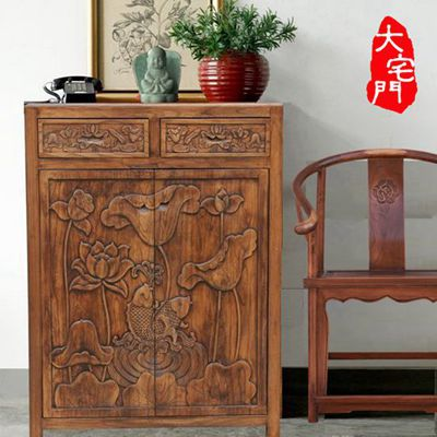 New Chinese elm wood furniture Cabinet Hand-carved lotus entrance foyer  shoe simple screens between