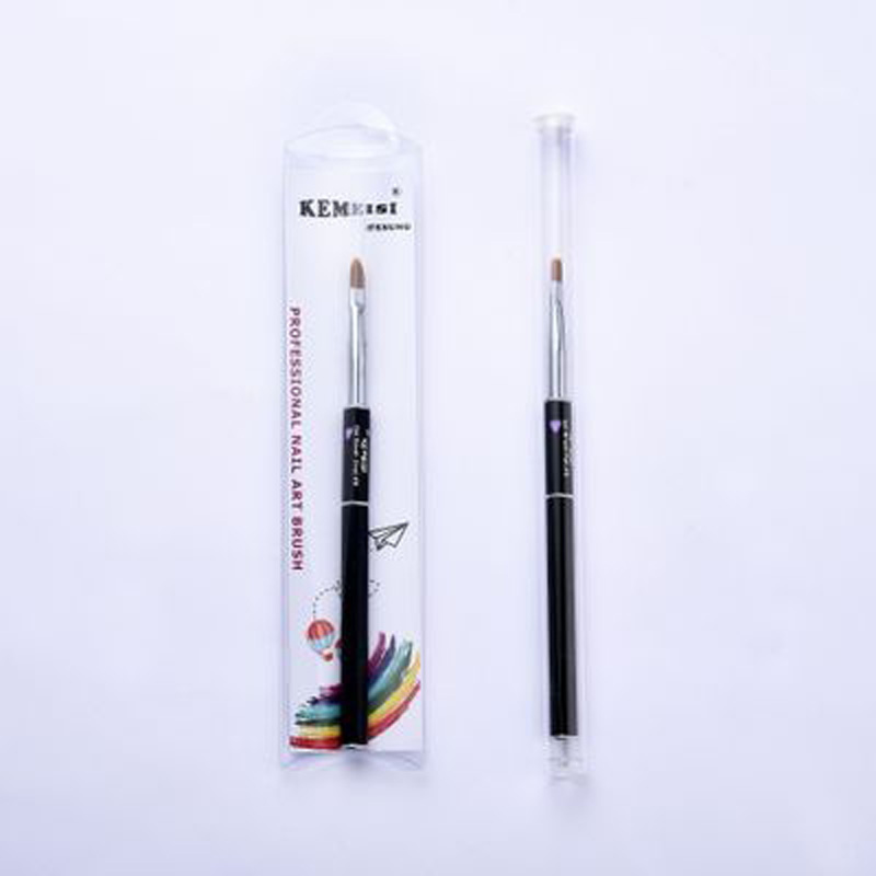 1PC Hot Sale Nylon Hair Metal Handle Nail Brush 8# Flat Oval Angle Round Shape Nail Art Brushes for Nail Art Tools