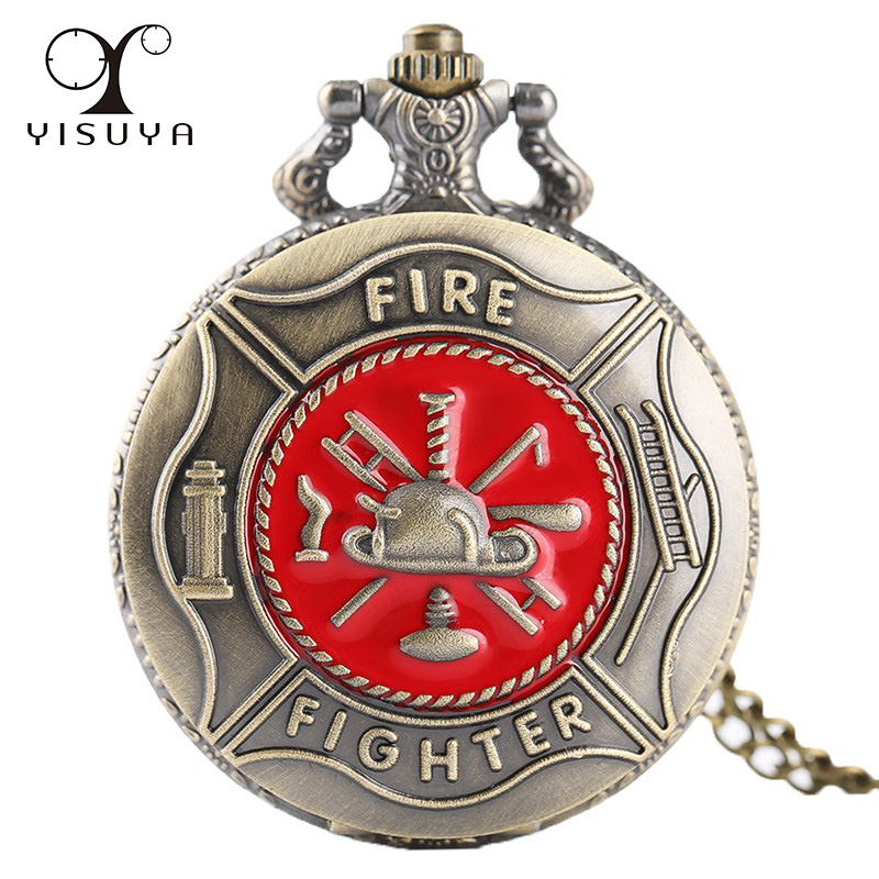 Unique Firefighting Design Pocket Watch Bronze Copper Quartz Analog For Firefighter Watches With Necklace Chain Best Watches