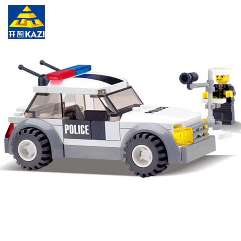 KAZI 6731 City Police Mini Car Action & Toy Figures Building Blocks Policeman Playmobil Police Toys for Children