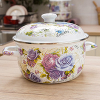 Pastoral style flower thickening porcelain enamel double ears soup saucepan hot pot stew pan used for gas and induction cooker