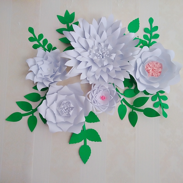2018 Latest Giant Paper Flowers With Leaves Set Nurseries Living Room Baby Shower Retails S Deco