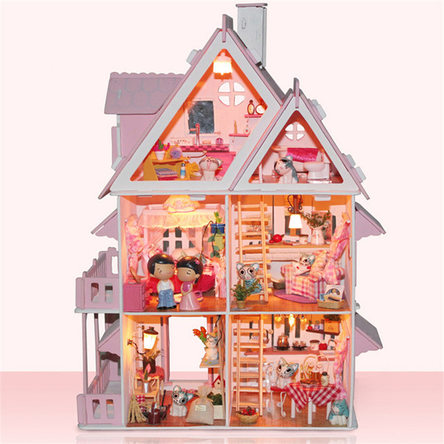 Free Shipping Assembling DIY Miniature Model Kit Wooden Doll House,Unique  Big Size House Toy